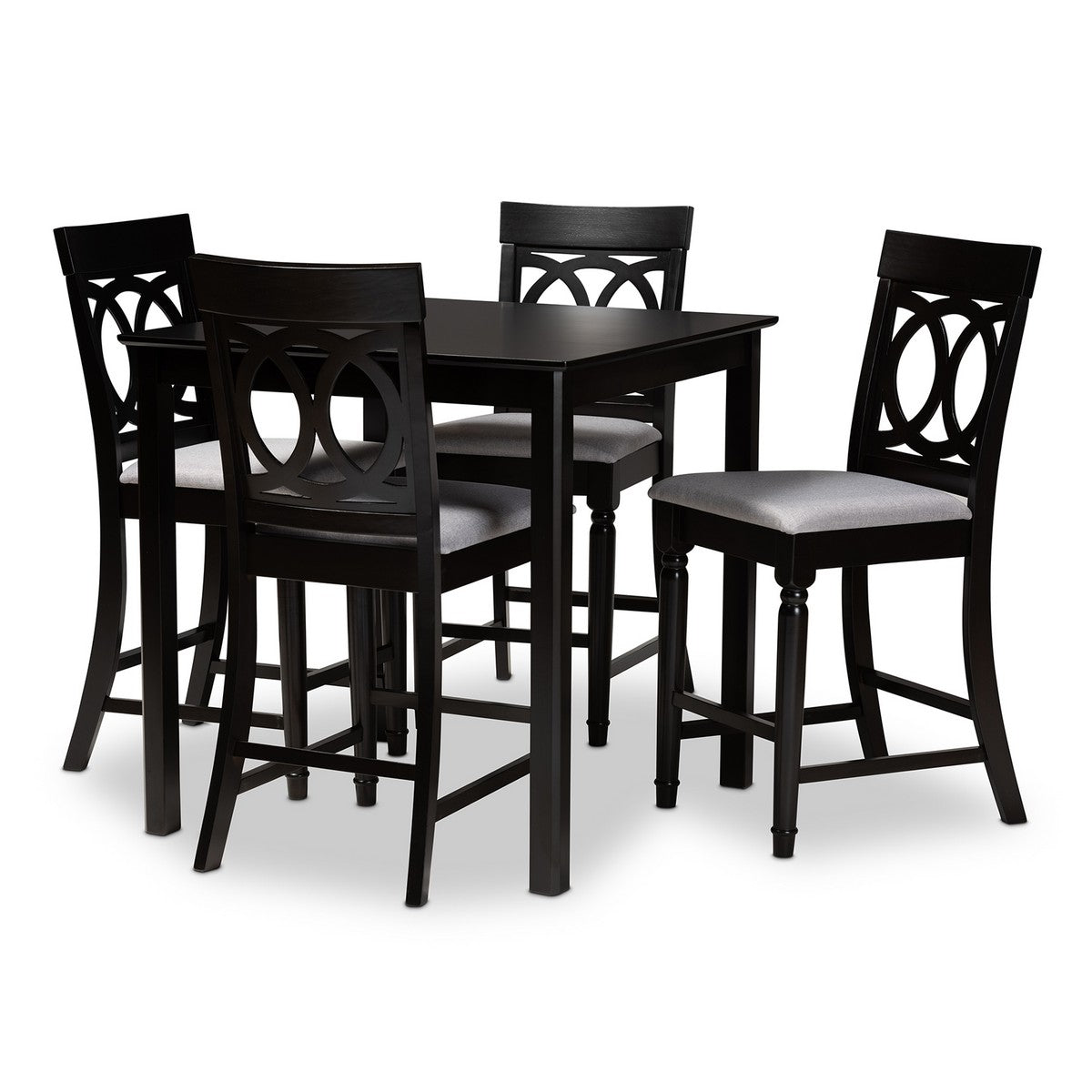 Baxton Studio Verina Modern and Contemporary Grey Fabric Upholstered Espresso Brown Finished 5-Piece Wood Pub Set Baxton Studio-Pub Sets-Minimal And Modern - 1