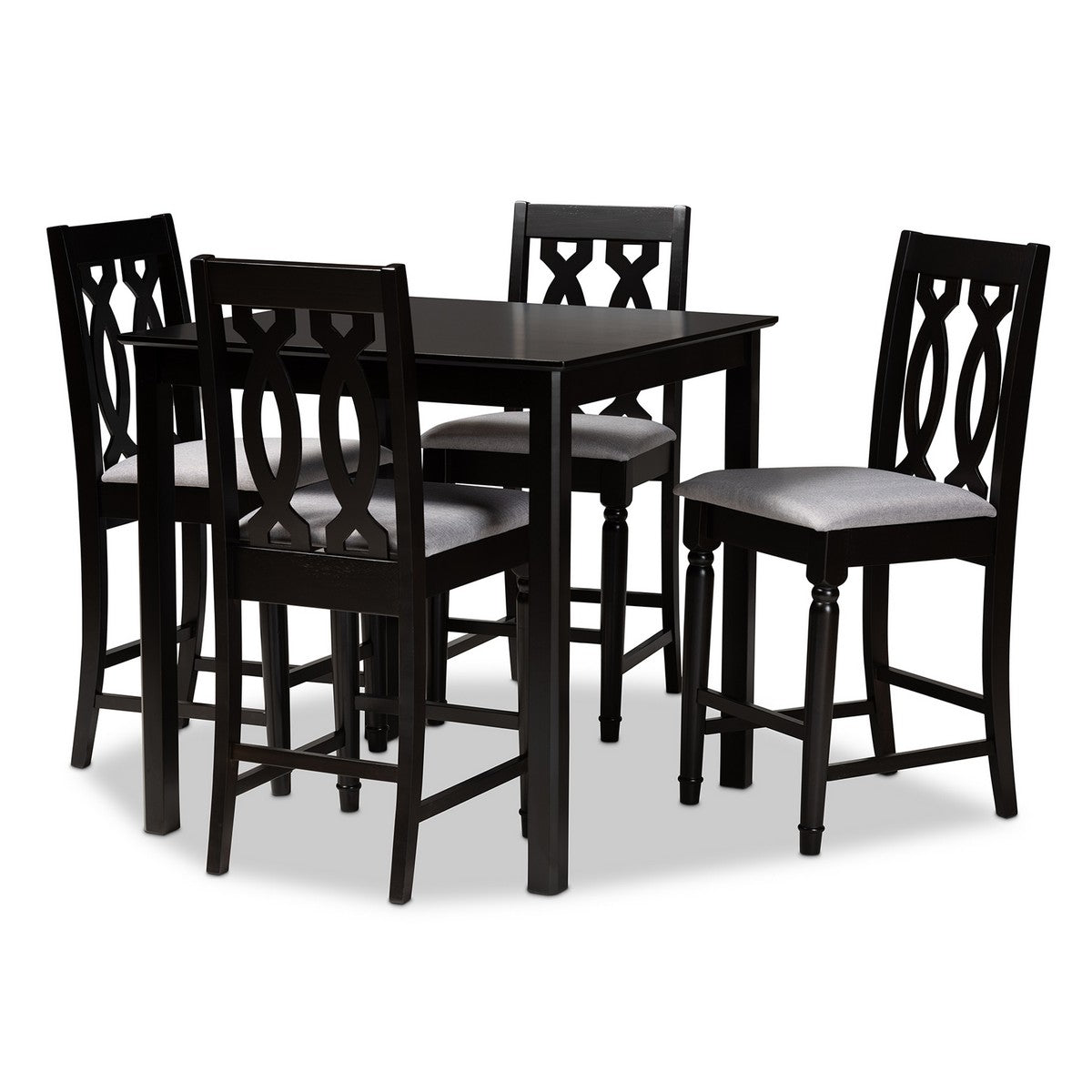 Baxton Studio Darcie Modern and Contemporary Grey Fabric Upholstered Espresso Brown Finished 5-Piece Wood Pub Set Baxton Studio-Pub Sets-Minimal And Modern - 1