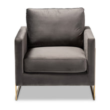 Baxton Studio Matteo Glam and Luxe Grey Velvet Fabric Upholstered Gold Finished Armchair Baxton Studio-chairs-Minimal And Modern - 1