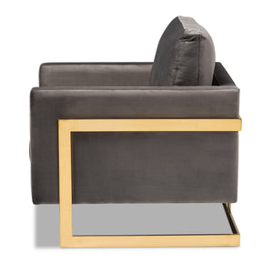 Baxton Studio Matteo Glam and Luxe Grey Velvet Fabric Upholstered Gold Finished Armchair