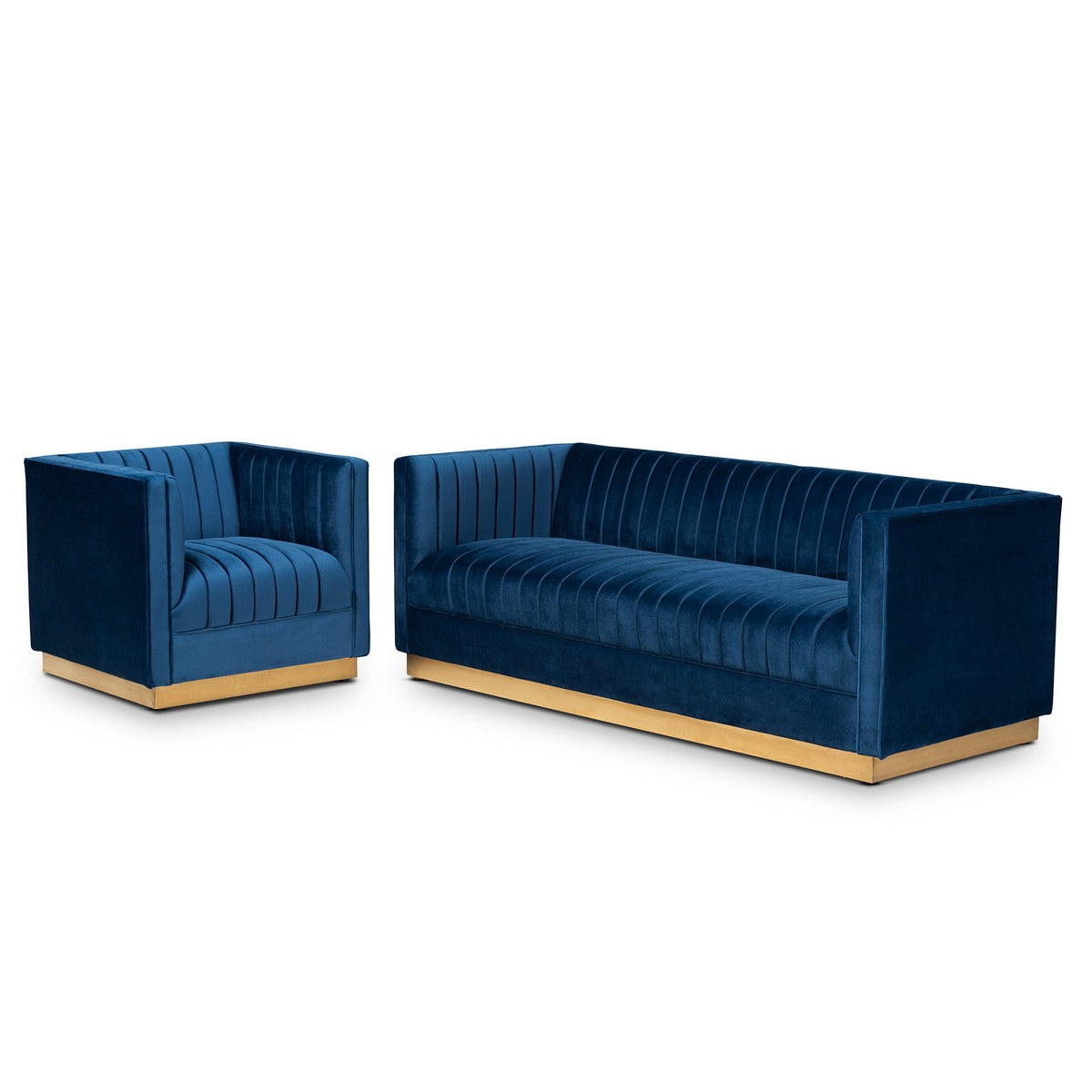Baxton Studio Aveline Glam and Luxe Navy Blue Velvet Fabric Upholstered Brushed Gold Finished 2-Piece Living Room Set Baxton Studio-Living Room Sets-Minimal And Modern - 1