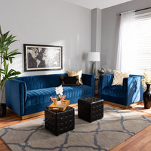 Baxton Studio Aveline Glam and Luxe Navy Blue Velvet Fabric Upholstered Brushed Gold Finished 2-Piece Living Room Set