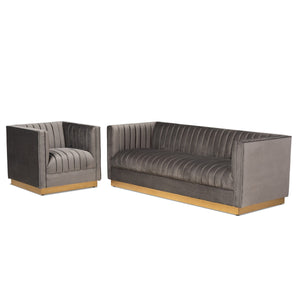 Baxton Studio Aveline Glam and Luxe Grey Velvet Fabric Upholstered Brushed Gold Finished 2-Piece Living Room Set Baxton Studio-Living Room Sets-Minimal And Modern - 1