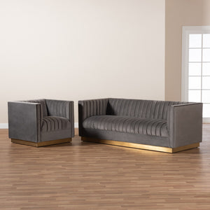 Baxton Studio Aveline Glam and Luxe Grey Velvet Fabric Upholstered Brushed Gold Finished 2-Piece Living Room Set