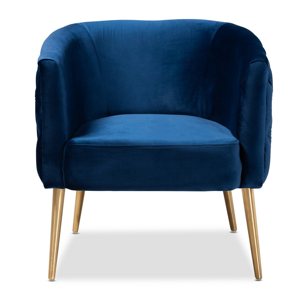 Baxton Studio Marcelle Glam and Luxe Navy Blue Velvet Fabric Upholstered Brushed Gold Finished Accent Chair Baxton Studio-chairs-Minimal And Modern - 1