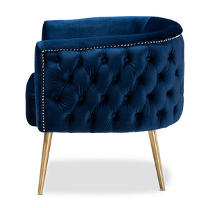 Baxton Studio Marcelle Glam and Luxe Navy Blue Velvet Fabric Upholstered Brushed Gold Finished Accent Chair