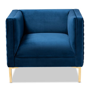 Baxton Studio Seraphin Glam and Luxe Navy Blue Velvet Fabric Upholstered Gold Finished Armchair Baxton Studio-chairs-Minimal And Modern - 1