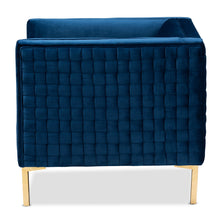 Baxton Studio Seraphin Glam and Luxe Navy Blue Velvet Fabric Upholstered Gold Finished Armchair