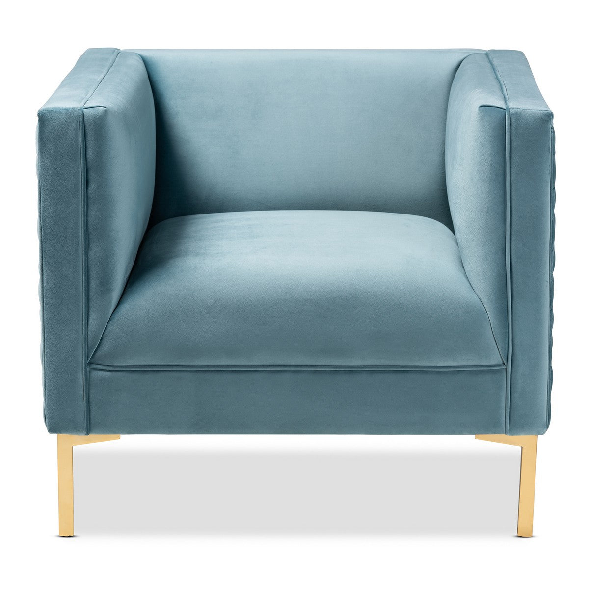 Baxton Studio Seraphin Glam and Luxe Light Blue Velvet Fabric Upholstered Gold Finished Armchair Baxton Studio-chairs-Minimal And Modern - 1