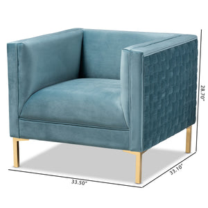 Baxton Studio Seraphin Glam and Luxe Light Blue Velvet Fabric Upholstered Gold Finished Armchair