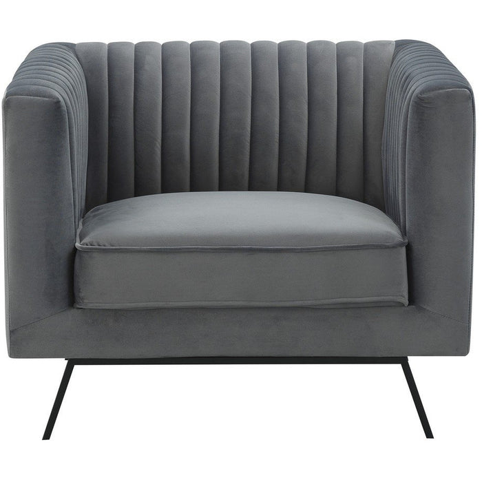 Manhattan Comfort Vandam 1-Seat Charcoal Grey Velvet ArmchairManhattan Comfort-Armchair- - 1