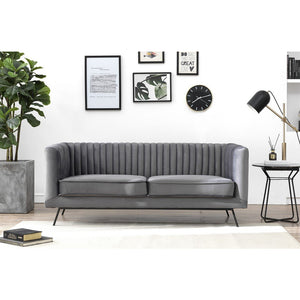 Manhattan Comfort Vandam 2-Seat Charcoal Grey Velvet Loveseat