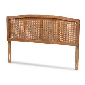 Baxton Studio Marieke Mid-Century Modern Ash Wanut Finished Wood and Synthetic Rattan Queen Size Headboard Baxton Studio- Headboards-Minimal And Modern - 1