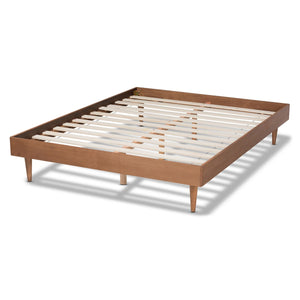 Baxton Studio Rina Mid-Century Modern Ash Wanut Finished King Size Wood Bed Frame