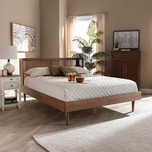 Baxton Studio Rina Mid-Century Modern Ash Wanut Finished Wood and Synthetic Rattan King Size Platform Bed with Wrap-Around Headboard