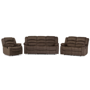 Baxton Studio Hollace Modern and Contemporary Taupe Microsuede Sofa Loveseat and Chair Set with 5 Recliners Living room Set Baxton Studio--Minimal And Modern - 2