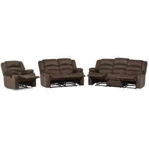 Baxton Studio Hollace Modern and Contemporary Taupe Microsuede Sofa Loveseat and Chair Set with 5 Recliners Living room Set Baxton Studio--Minimal And Modern - 3