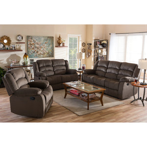 Baxton Studio Hollace Modern and Contemporary Taupe Microsuede Sofa Loveseat and Chair Set with 5 Recliners Living room Set Baxton Studio--Minimal And Modern - 5