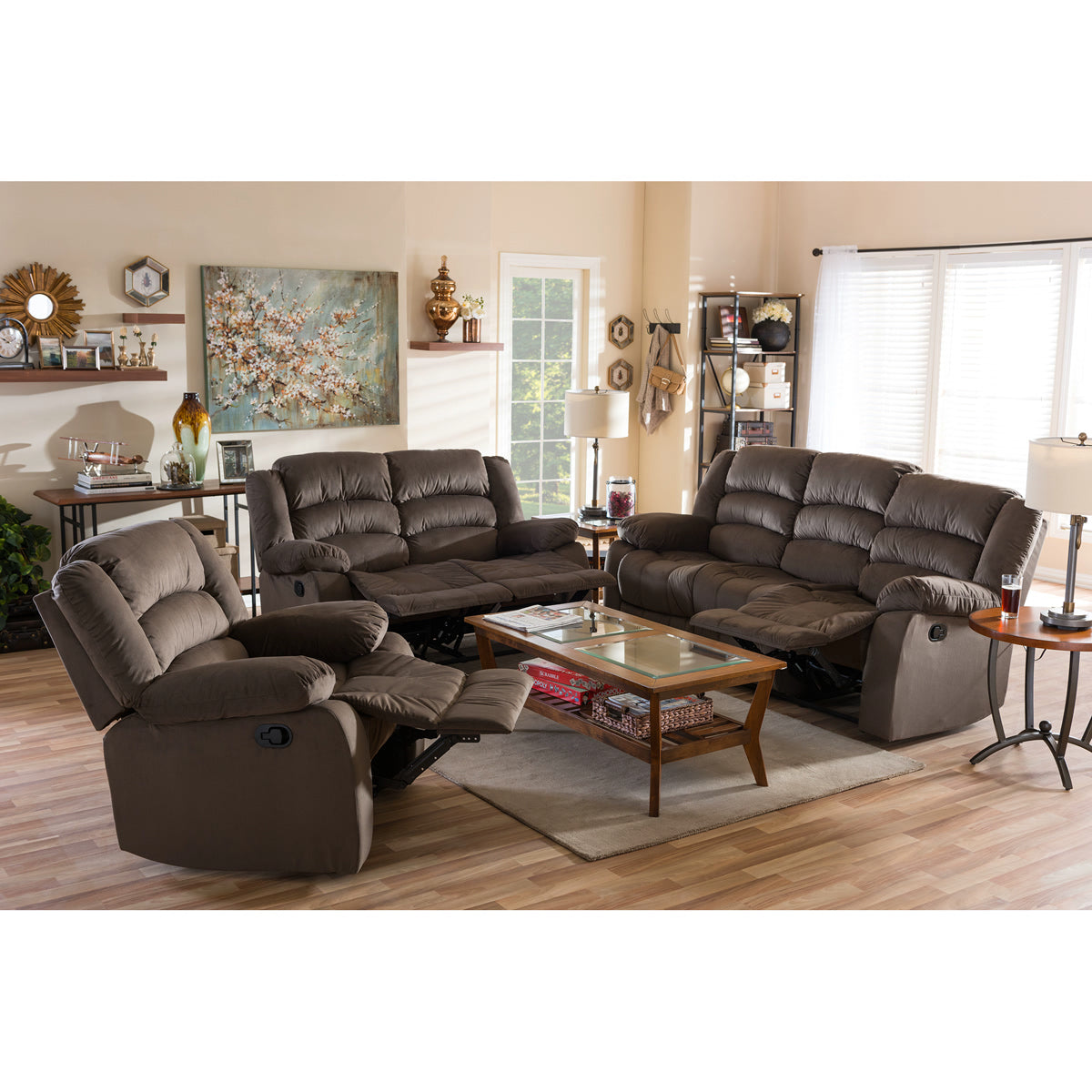 Baxton Studio Hollace Modern and Contemporary Taupe Microsuede Sofa Loveseat and Chair Set with 5 Recliners Living room Set Baxton Studio--Minimal And Modern - 1