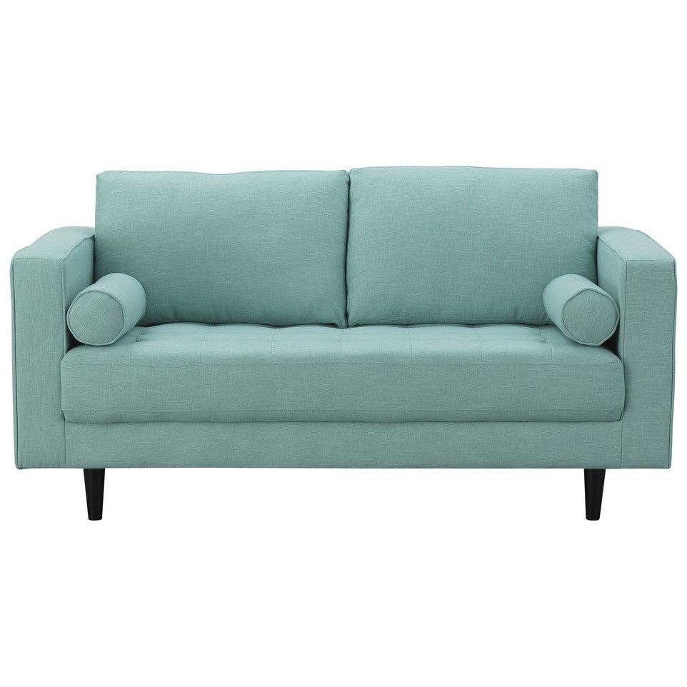Manhattan Comfort Arthur 2-Seat Mint Green-Blue Tweed LoveseatManhattan Comfort-Loveseat- - 1