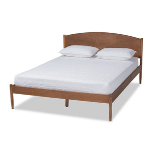 Baxton Studio Leanora Mid-Century Modern Ash Wanut Finished Queen Size Wood Platform Bed Baxton Studio- Beds (Platform)-Minimal And Modern - 1