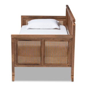 Baxton Studio Toveli Vintage French Inspired Ash Wanut Finished Wood and Synthetic Rattan Daybed