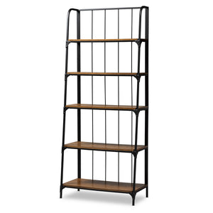 Baxton Studio Ceren Vintage Rustic Industrial Distressed Wood and Black Metal Finished 5-Tier Living Room Ladder Shelf Baxton Studio-Shelving-Minimal And Modern - 1