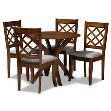 Baxton Studio Jana Modern and Contemporary Grey Fabric Upholstered and Walnut Brown Finished Wood 5-Piece Dining Set Baxton Studio-Dining Sets-Minimal And Modern - 1