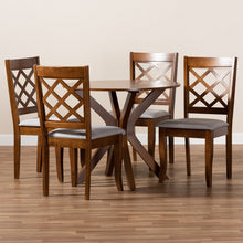 Baxton Studio Jana Modern and Contemporary Grey Fabric Upholstered and Walnut Brown Finished Wood 5-Piece Dining Set
