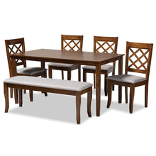 Baxton Studio Andor Modern and Contemporary Grey Fabric Upholstered and Walnut Brown Finished Wood 6-Piece Dining Set Baxton Studio-Dining Sets-Minimal And Modern - 1