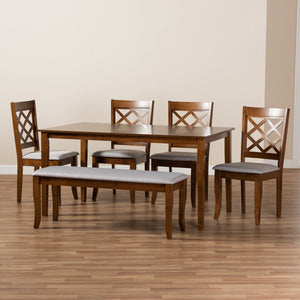 Baxton Studio Andor Modern and Contemporary Grey Fabric Upholstered and Walnut Brown Finished Wood 6-Piece Dining Set