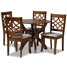 Baxton Studio Sandra Modern and Contemporary Grey Fabric Upholstered and Walnut Brown Finished Wood 5-Piece Dining Set Baxton Studio-Dining Sets-Minimal And Modern - 1
