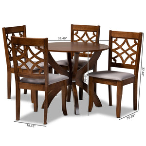 Baxton Studio Sandra Modern and Contemporary Grey Fabric Upholstered and Walnut Brown Finished Wood 5-Piece Dining Set