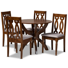 Baxton Studio Mona Modern and Contemporary Grey Fabric Upholstered and Walnut Brown Finished Wood 5-Piece Dining Set Baxton Studio-Dining Sets-Minimal And Modern - 1