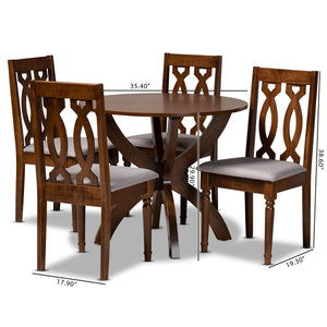 Baxton Studio Mona Modern and Contemporary Grey Fabric Upholstered and Walnut Brown Finished Wood 5-Piece Dining Set