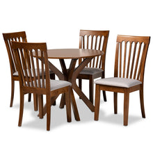 Baxton Studio Lore Modern and Contemporary Grey Fabric Upholstered and Walnut Brown Finished Wood 5-Piece Dining Set Baxton Studio-Dining Sets-Minimal And Modern - 1