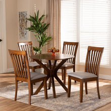 Baxton Studio Lore Modern and Contemporary Grey Fabric Upholstered and Walnut Brown Finished Wood 5-Piece Dining Set