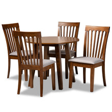 Baxton Studio Lida Modern and Contemporary Grey Fabric Upholstered and Walnut Brown Finished Wood 5-Piece Dining Set Baxton Studio-Dining Sets-Minimal And Modern - 1