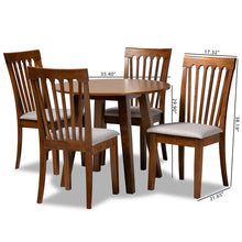 Baxton Studio Lida Modern and Contemporary Grey Fabric Upholstered and Walnut Brown Finished Wood 5-Piece Dining Set