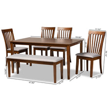 Baxton Studio Minette Modern and Contemporary Grey Fabric Upholstered and Walnut Brown Finished Wood 6-Piece Dining Set