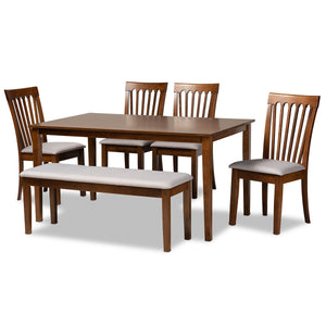 Baxton Studio Minette Modern and Contemporary Grey Fabric Upholstered and Walnut Brown Finished Wood 6-Piece Dining Set Baxton Studio-Dining Sets-Minimal And Modern - 1