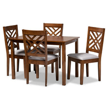 Baxton Studio Caron Modern and Contemporary Grey Fabric Upholstered Walnut Brown Finished Wood 5-Piece Dining Set Baxton Studio-Dining Sets-Minimal And Modern - 1