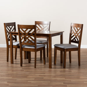 Baxton Studio Caron Modern and Contemporary Grey Fabric Upholstered Walnut Brown Finished Wood 5-Piece Dining Set