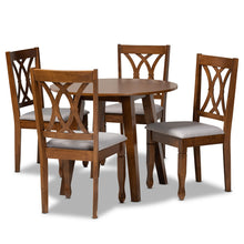 Baxton Studio Leon Modern and Contemporary Grey Fabric Upholstered and Walnut Brown Finished Wood 5-Piece Dining Set Baxton Studio- Dining Sets-Minimal And Modern - 1
