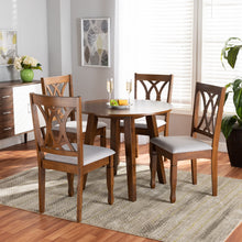 Baxton Studio Leon Modern and Contemporary Grey Fabric Upholstered and Walnut Brown Finished Wood 5-Piece Dining Set