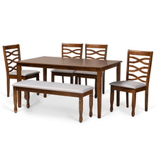 Baxton Studio Lanier Modern and Contemporary Grey Fabric Upholstered and Walnut Brown Finished Wood 6-Piece Dining Set Baxton Studio-Dining Sets-Minimal And Modern - 1