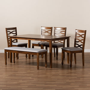 Baxton Studio Lanier Modern and Contemporary Grey Fabric Upholstered and Walnut Brown Finished Wood 6-Piece Dining Set
