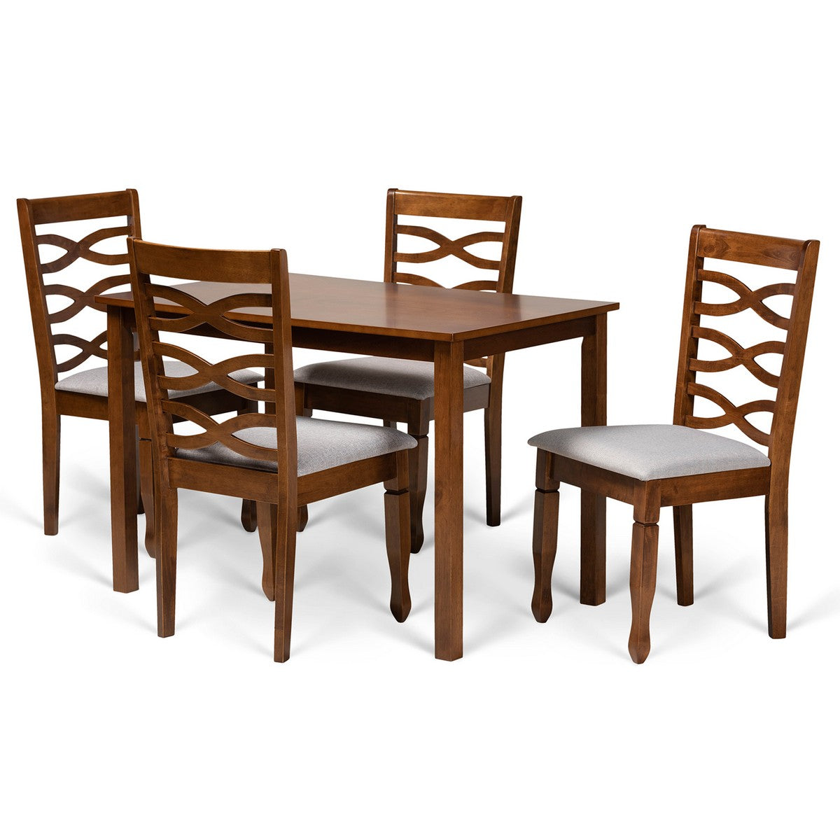 Baxton Studio Mirna Modern and Contemporary Grey Fabric Upholstered and Walnut Brown Finished Wood 5-Piece Dining Set Baxton Studio-Dining Sets-Minimal And Modern - 1