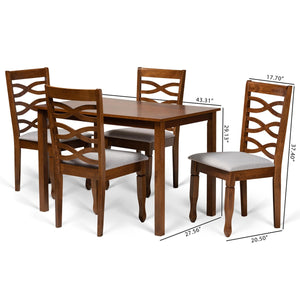 Baxton Studio Mirna Modern and Contemporary Grey Fabric Upholstered and Walnut Brown Finished Wood 5-Piece Dining Set