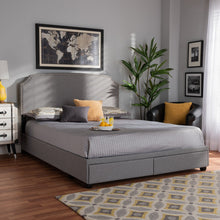 Baxton Studio Larese Light Grey Fabric Upholstered 2-Drawer King Size Platform Storage Bed